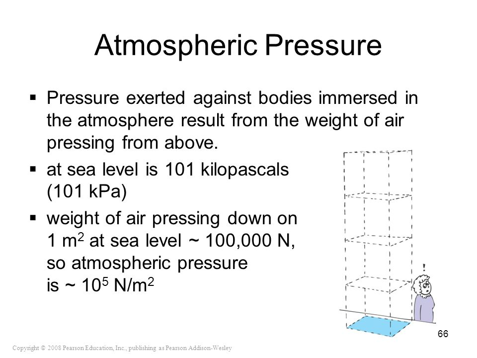 Atmospheric Pressure Pressure exerted against bodies immersed in the atmosphere result from the weight of air pressing from above.
