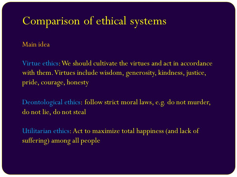 Comparison of ethical systems