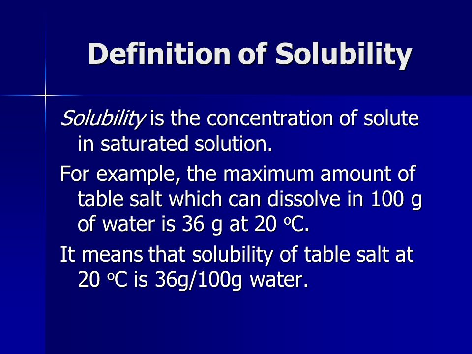 Definition of Solubility