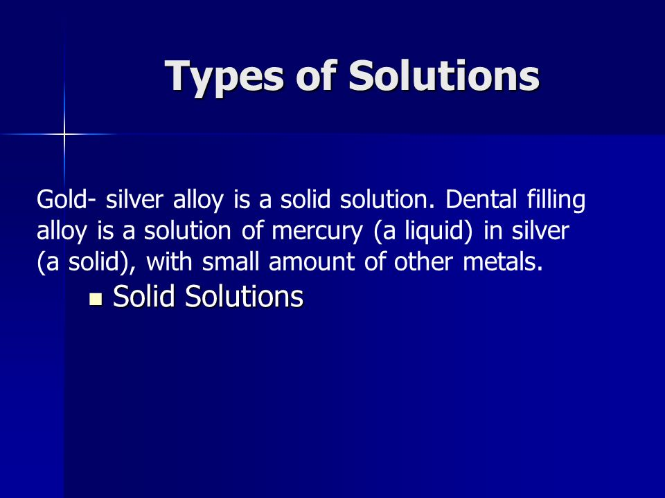 Types of Solutions Solid Solutions