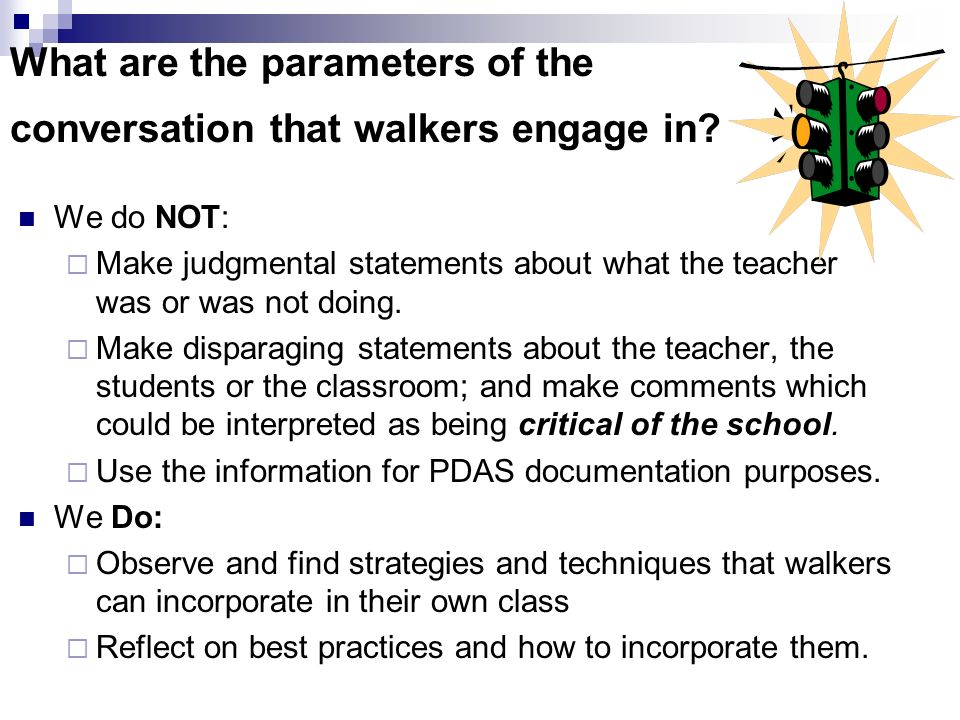 What are the parameters of the conversation that walkers engage in