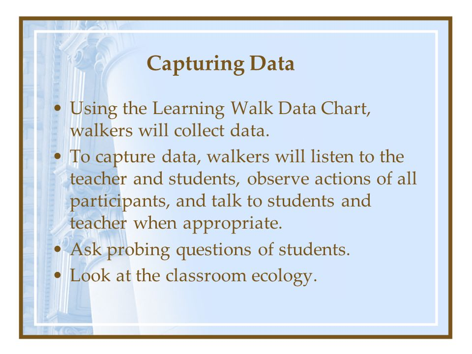 Capturing Data Using the Learning Walk Data Chart, walkers will collect data.