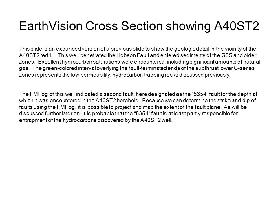 EarthVision Cross Section showing A40ST2