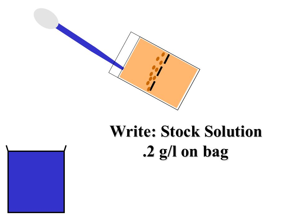 Write: Stock Solution .2 g/l on bag