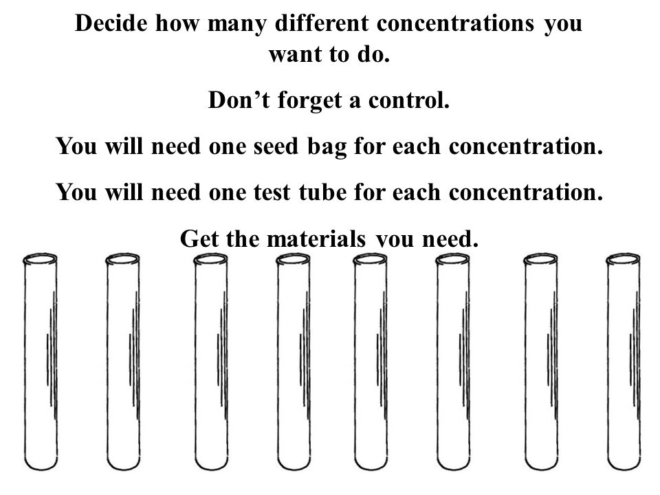 Decide how many different concentrations you want to do.