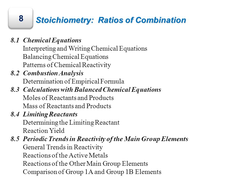 8 Stoichiometry: Ratios of Combination 8.1 Chemical Equations