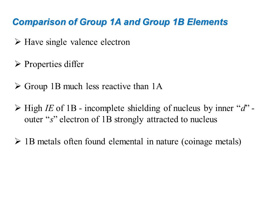 Comparison of Group 1A and Group 1B Elements