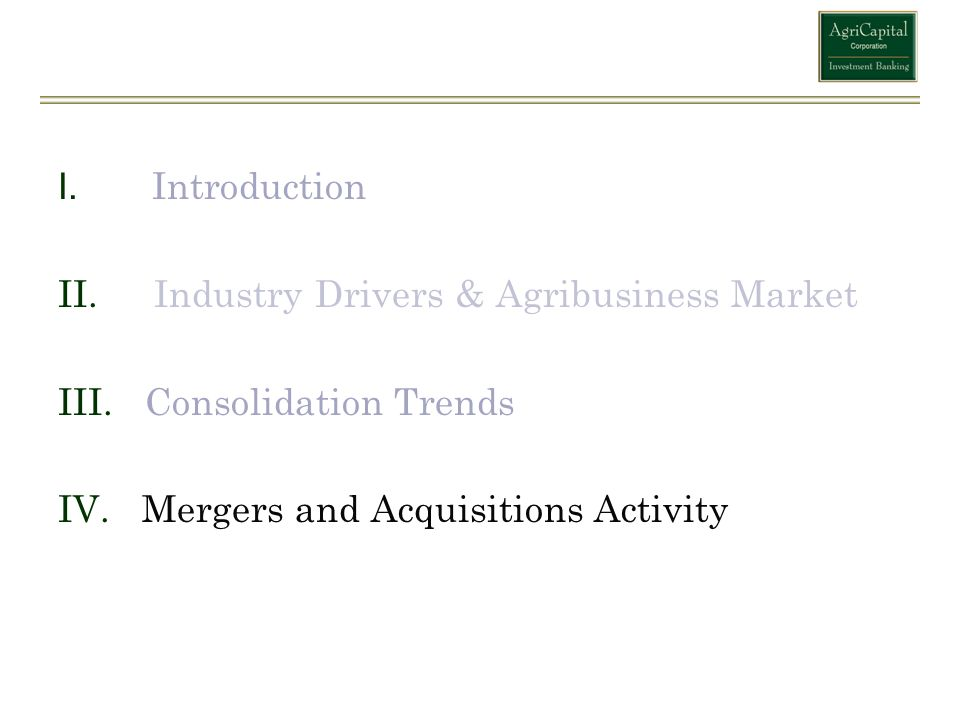Introduction Industry Drivers & Agribusiness Market.