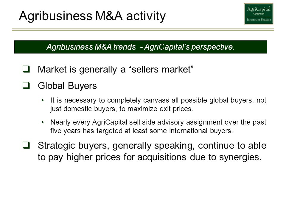Agribusiness M&A activity