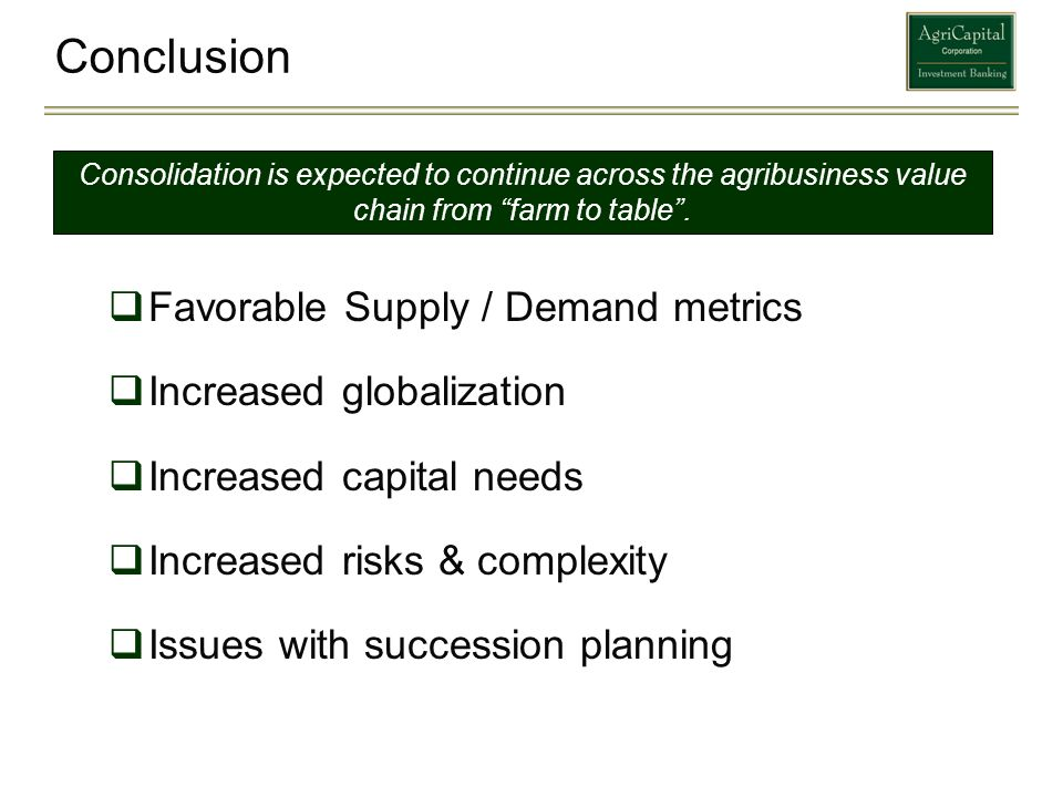 Conclusion Favorable Supply / Demand metrics Increased globalization
