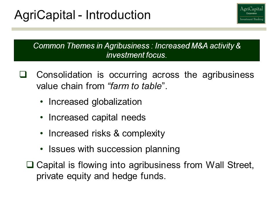 AgriCapital - Introduction