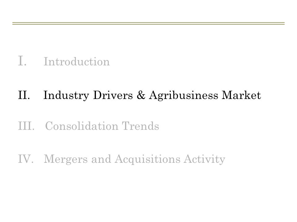 Introduction Industry Drivers & Agribusiness Market