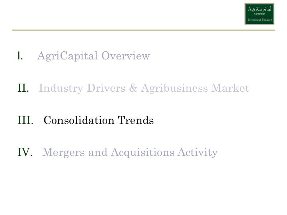 AgriCapital Overview Industry Drivers & Agribusiness Market.