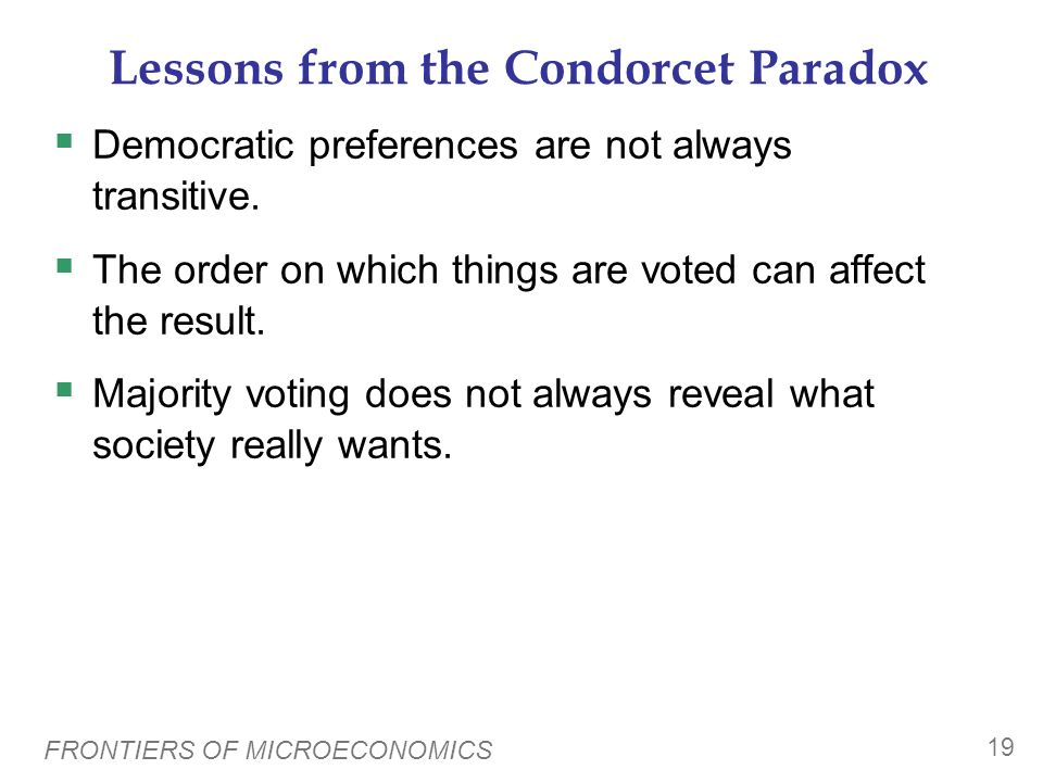Lessons from the Condorcet Paradox