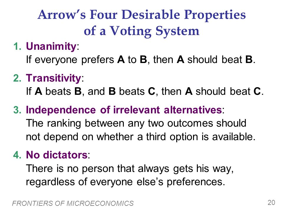 Arrow's Four Desirable Properties of a Voting System