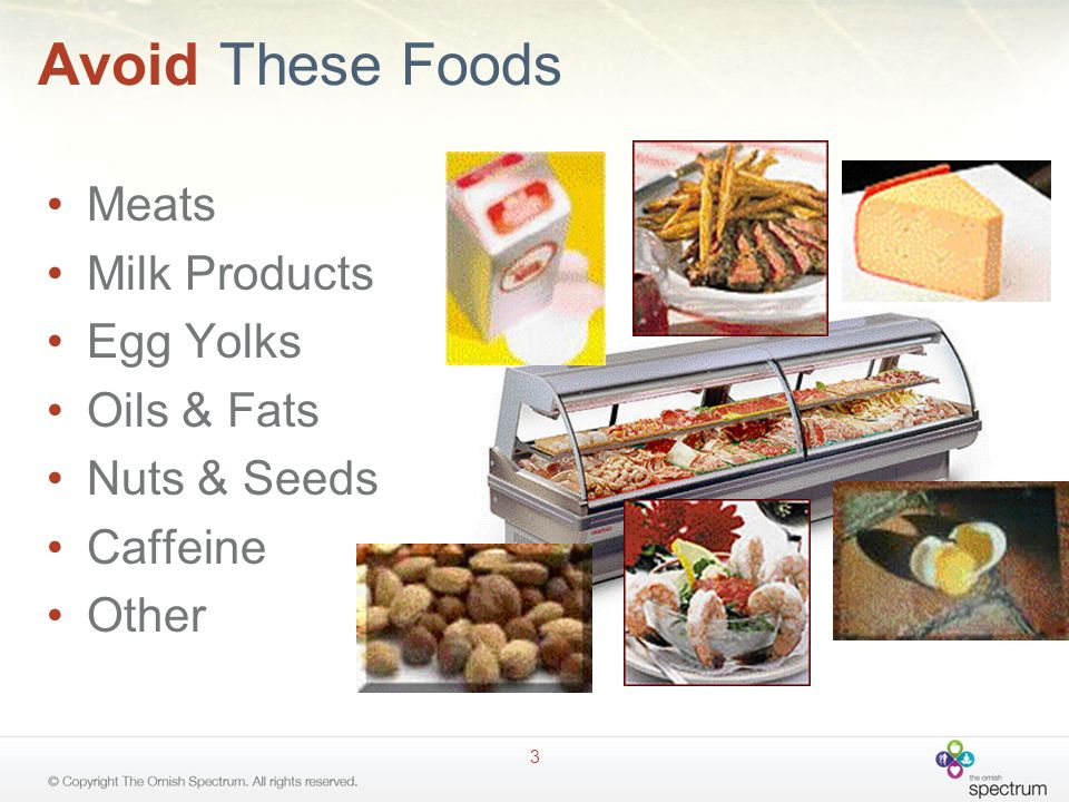 Avoid These Foods Meats Milk Products Egg Yolks Oils & Fats