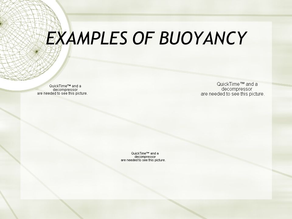 EXAMPLES OF BUOYANCY
