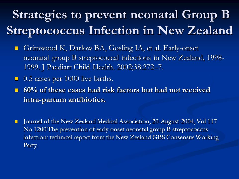 Strategies to prevent neonatal Group B Streptococcus Infection in New Zealand