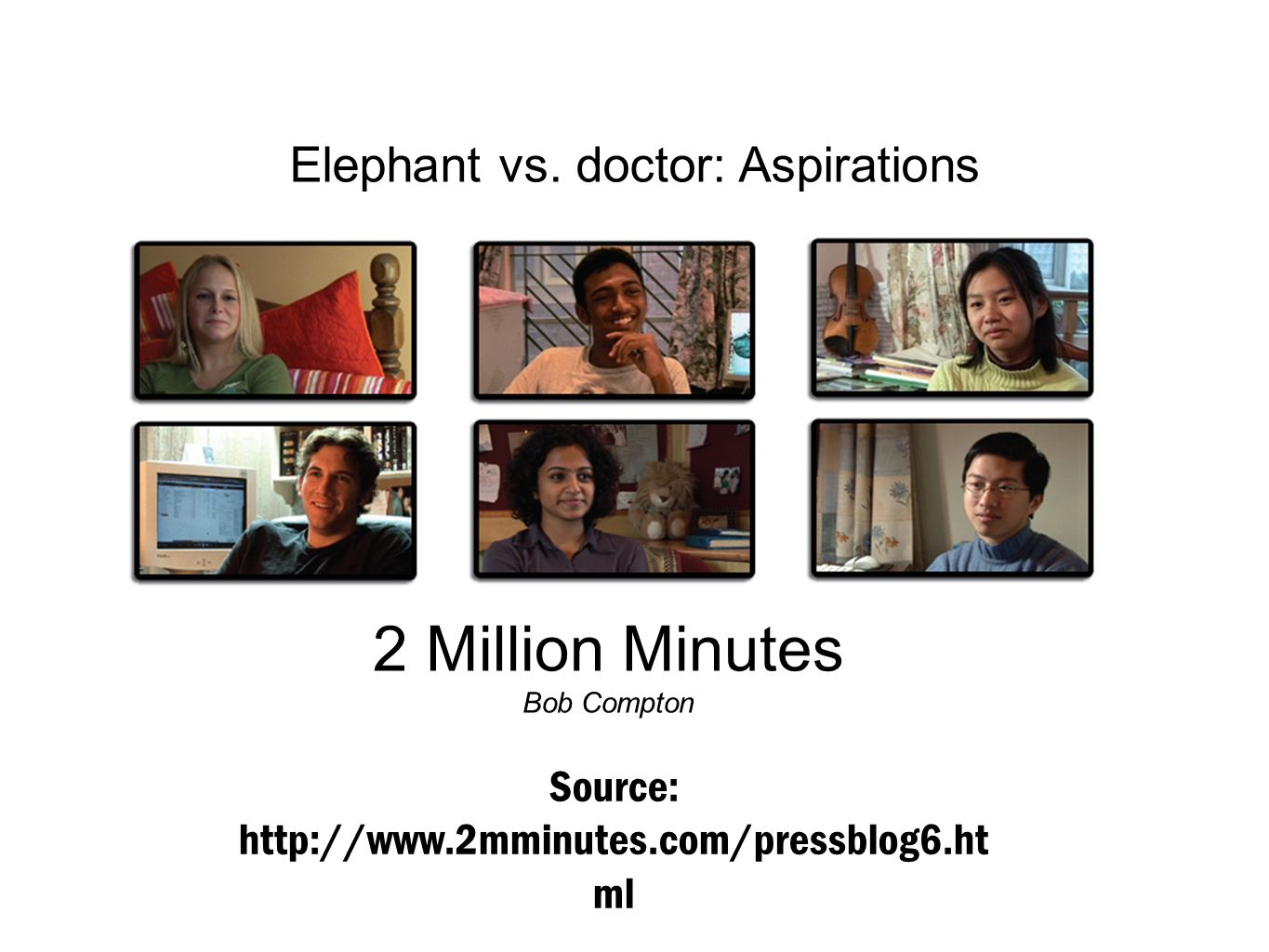 2 Million Minutes Elephant vs. doctor: Aspirations
