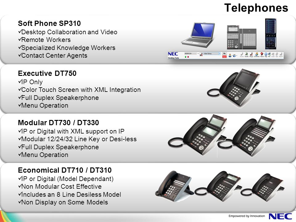 Telephones Soft Phone SP310 Executive DT750 Modular DT730 / DT330