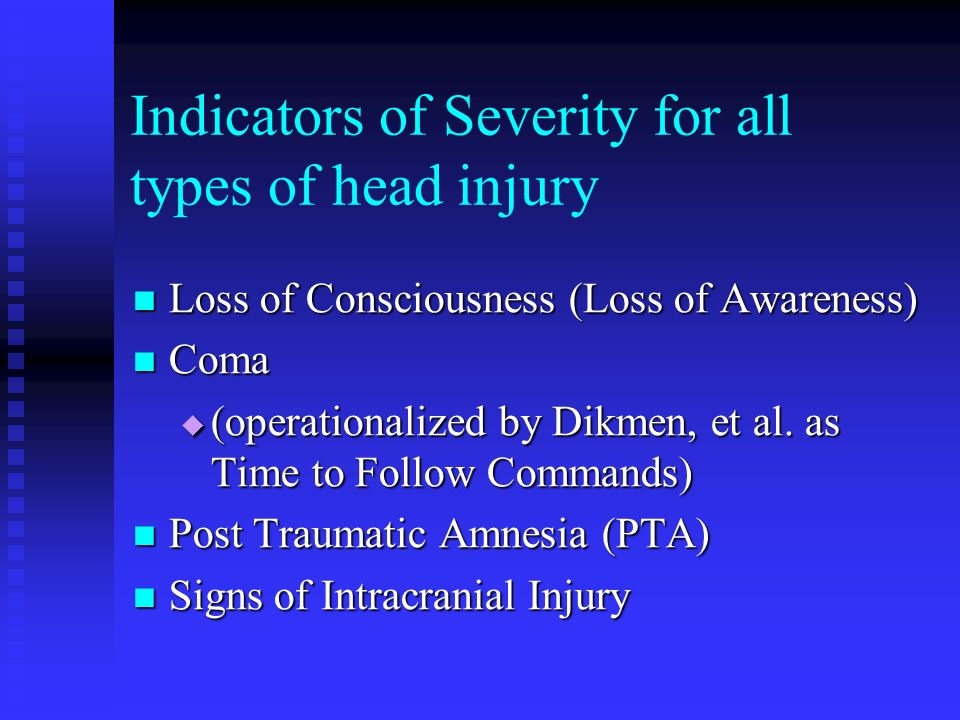 Indicators of Severity for all types of head injury