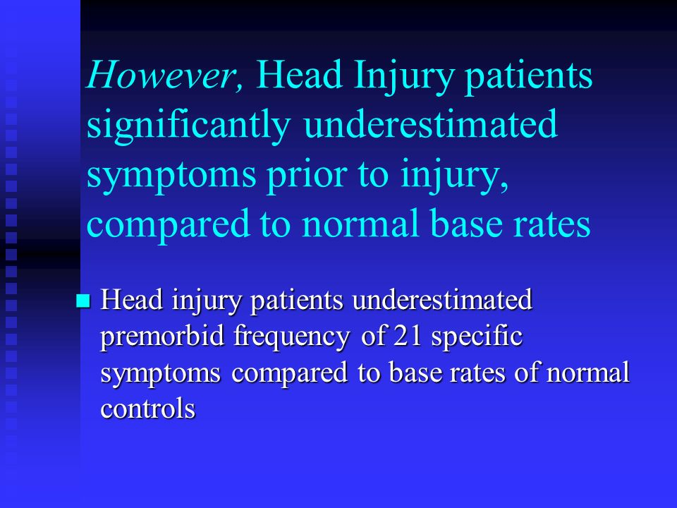 However, Head Injury patients significantly underestimated symptoms prior to injury, compared to normal base rates