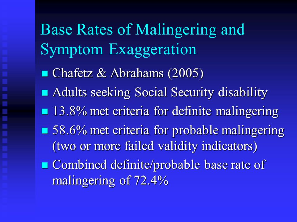 Base Rates of Malingering and Symptom Exaggeration
