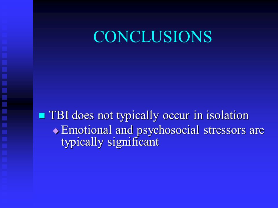 CONCLUSIONS TBI does not typically occur in isolation