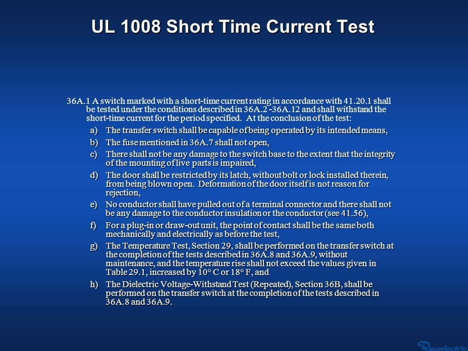 UL 1008 Short Time Current Test