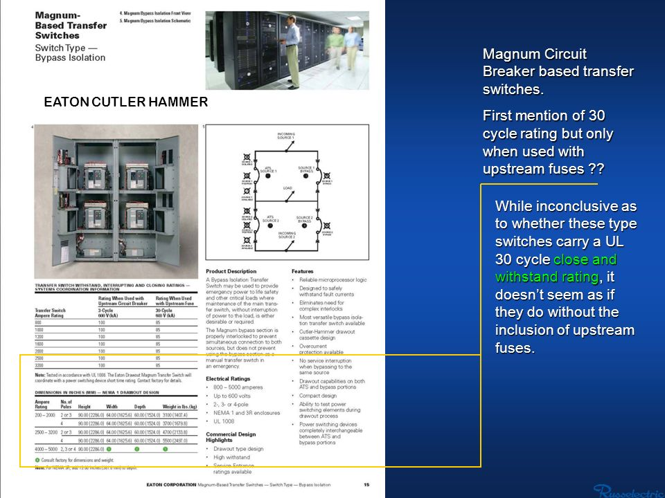 Magnum Circuit Breaker based transfer switches.