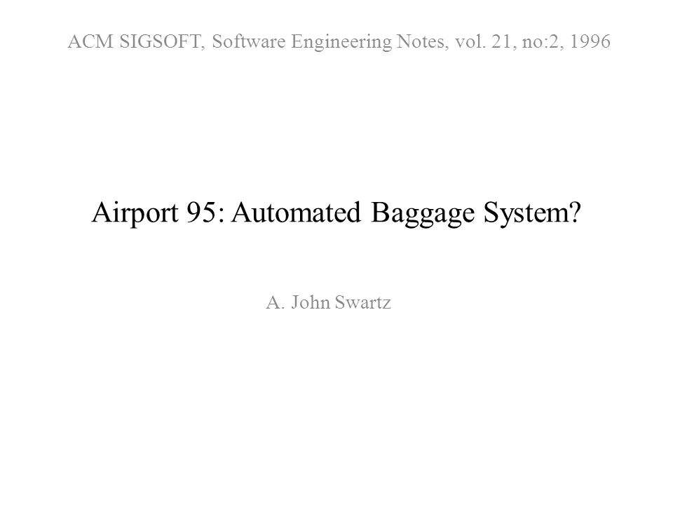 Airport 95: Automated Baggage System