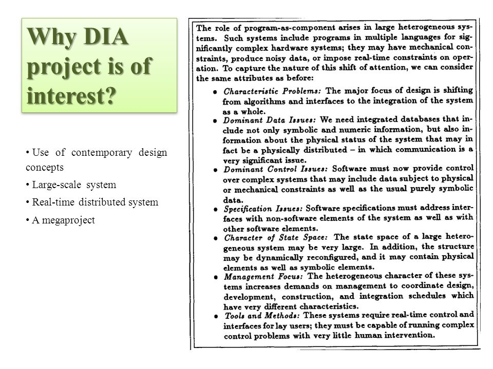 Why DIA project is of interest