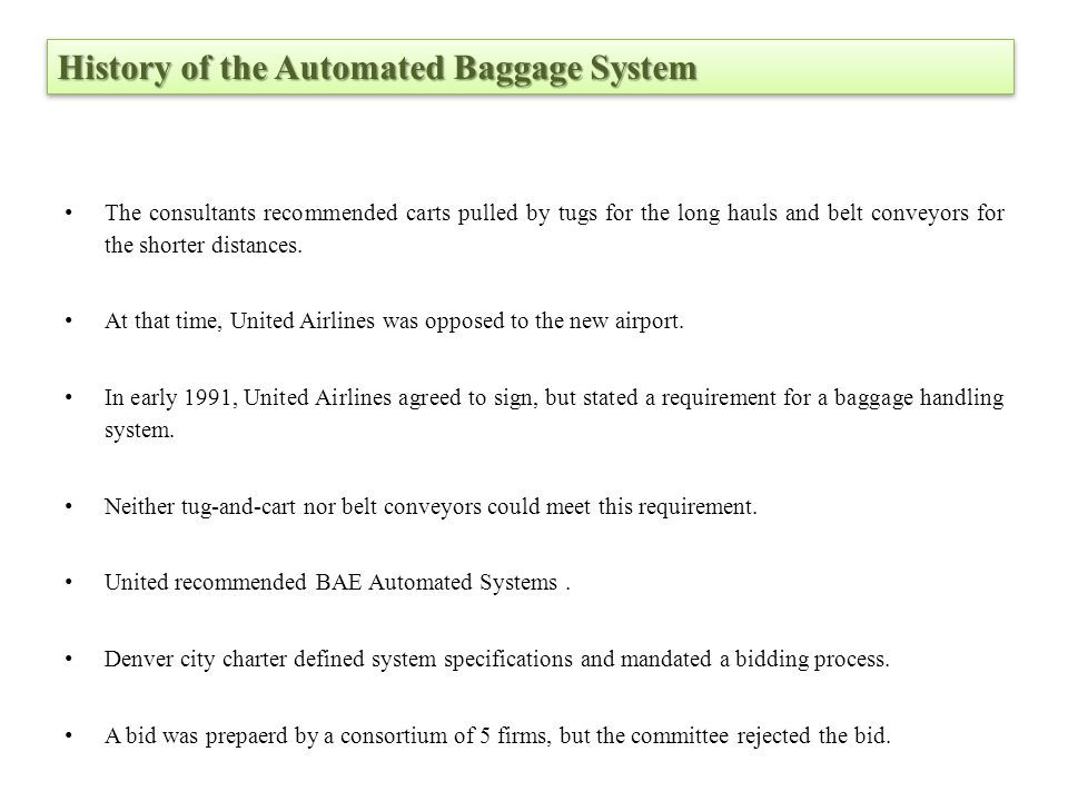History of the Automated Baggage System