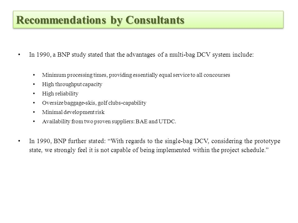Recommendations by Consultants