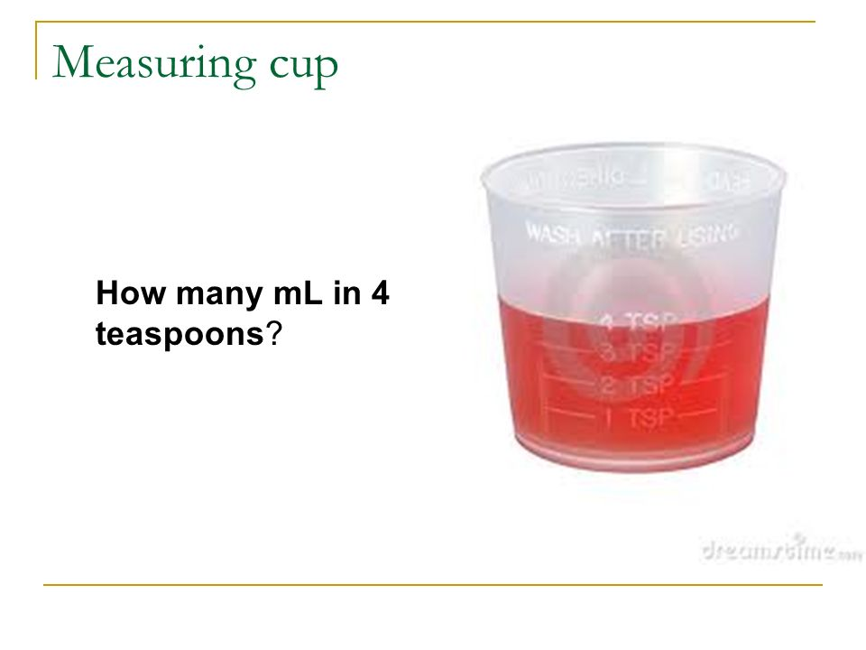 Measuring cup How many mL in 4 teaspoons