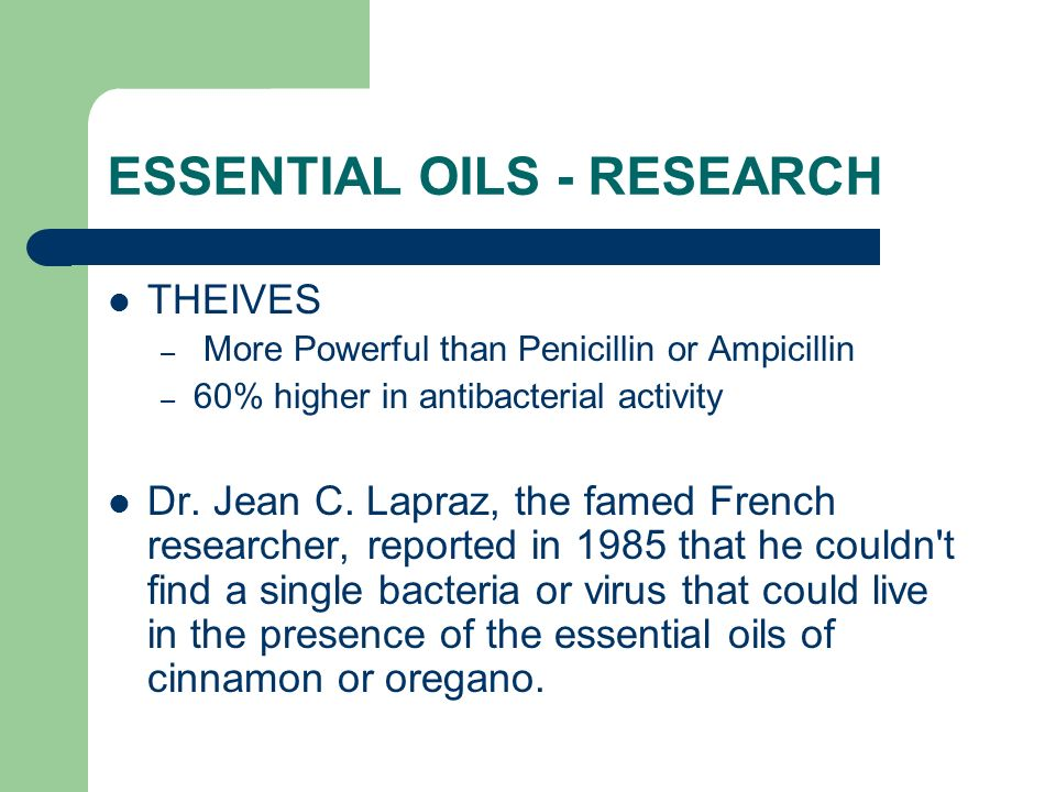 ESSENTIAL OILS - RESEARCH