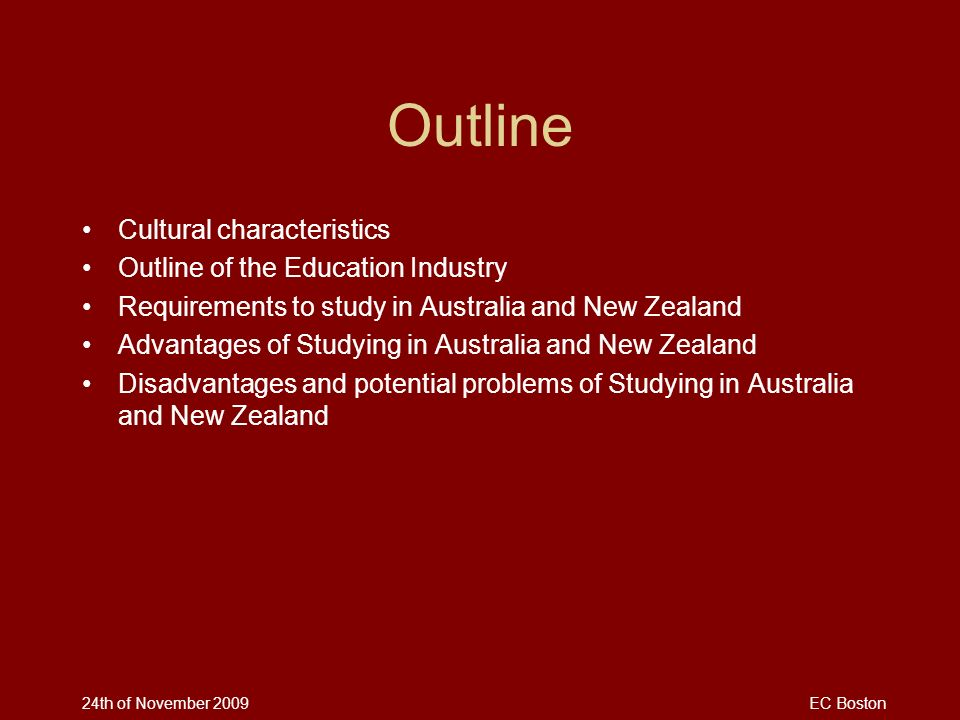 Outline Cultural characteristics Outline of the Education Industry