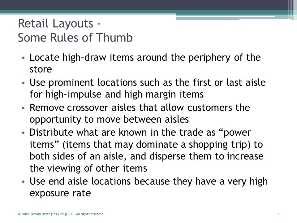 Retail Layouts - Some Rules of Thumb