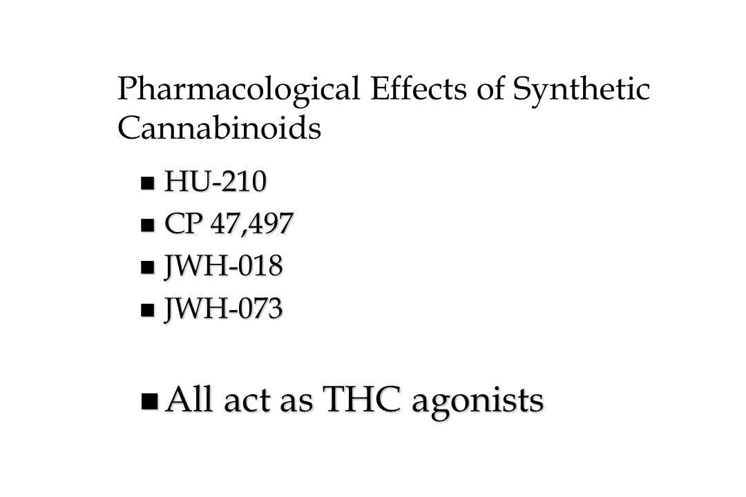 Pharmacological Effects of Synthetic Cannabinoids