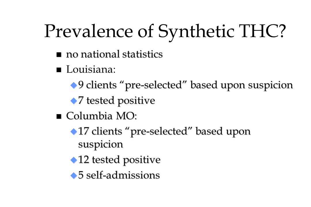 Prevalence of Synthetic THC