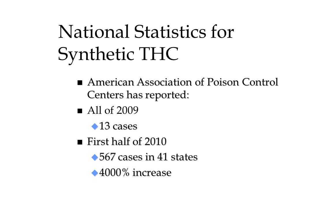 National Statistics for Synthetic THC