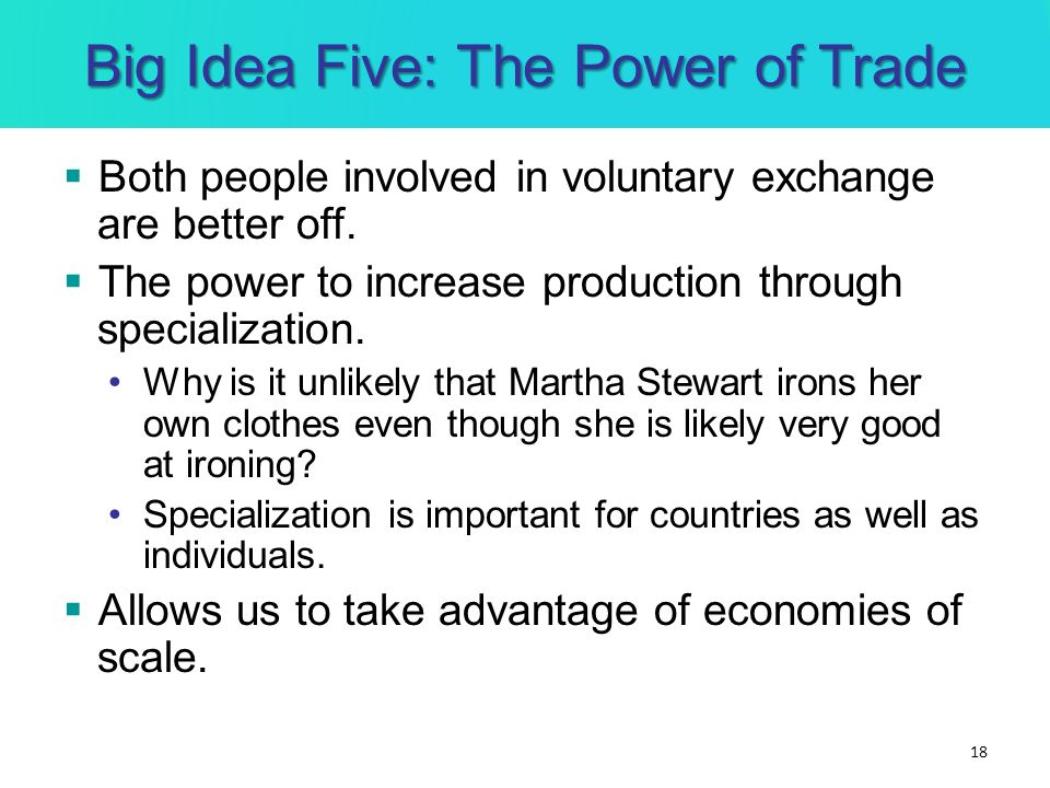 Big Idea Five: The Power of Trade