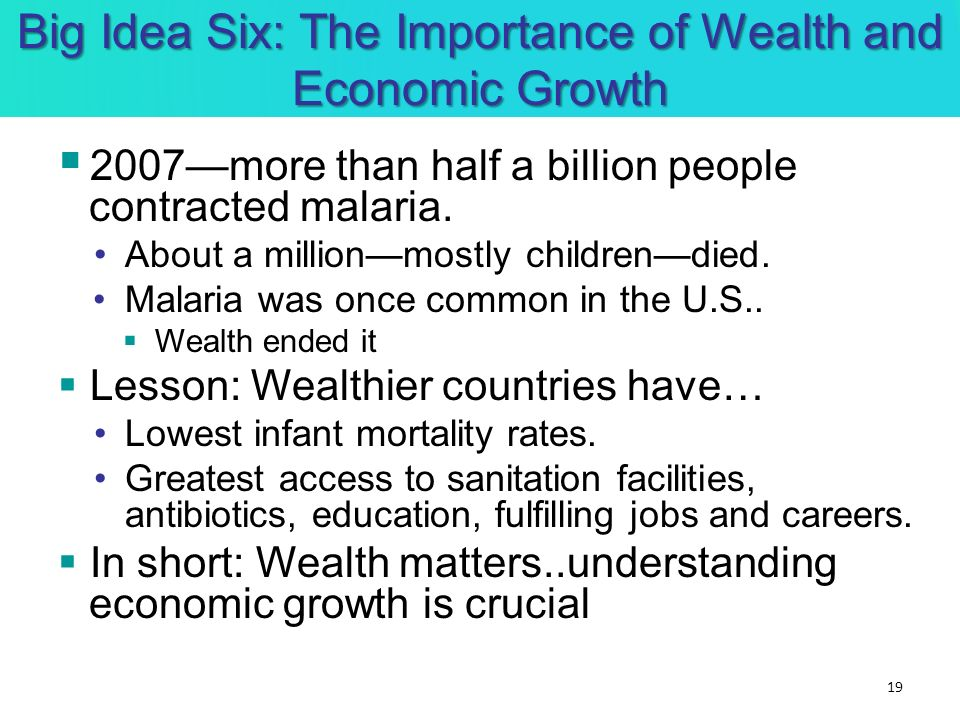 Big Idea Six: The Importance of Wealth and Economic Growth