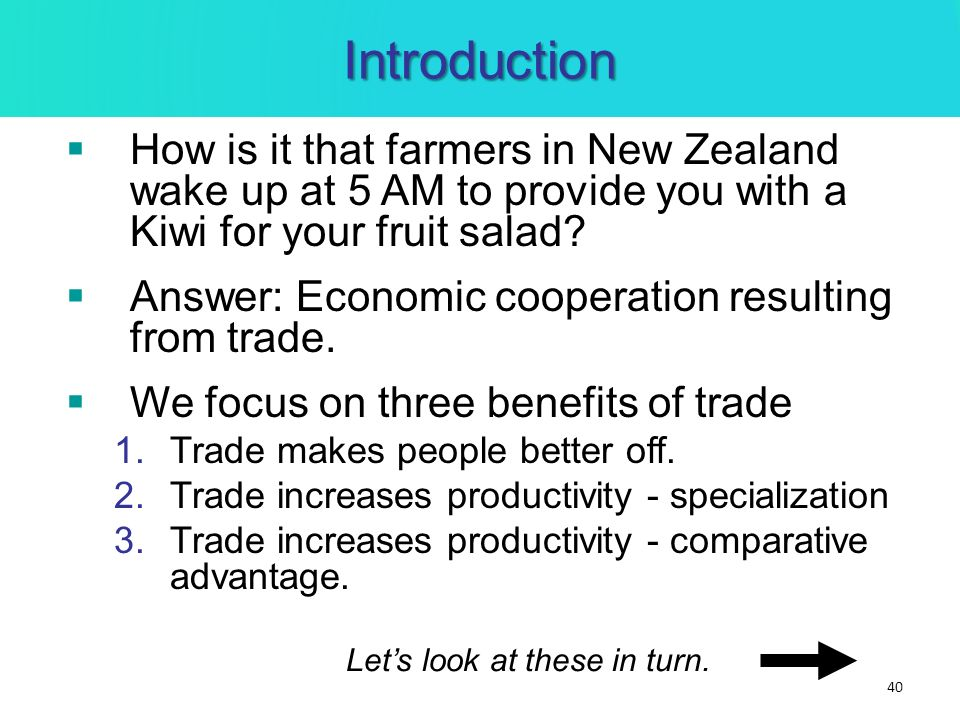 Introduction How is it that farmers in New Zealand wake up at 5 AM to provide you with a Kiwi for your fruit salad