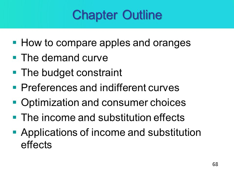 Chapter Outline How to compare apples and oranges The demand curve