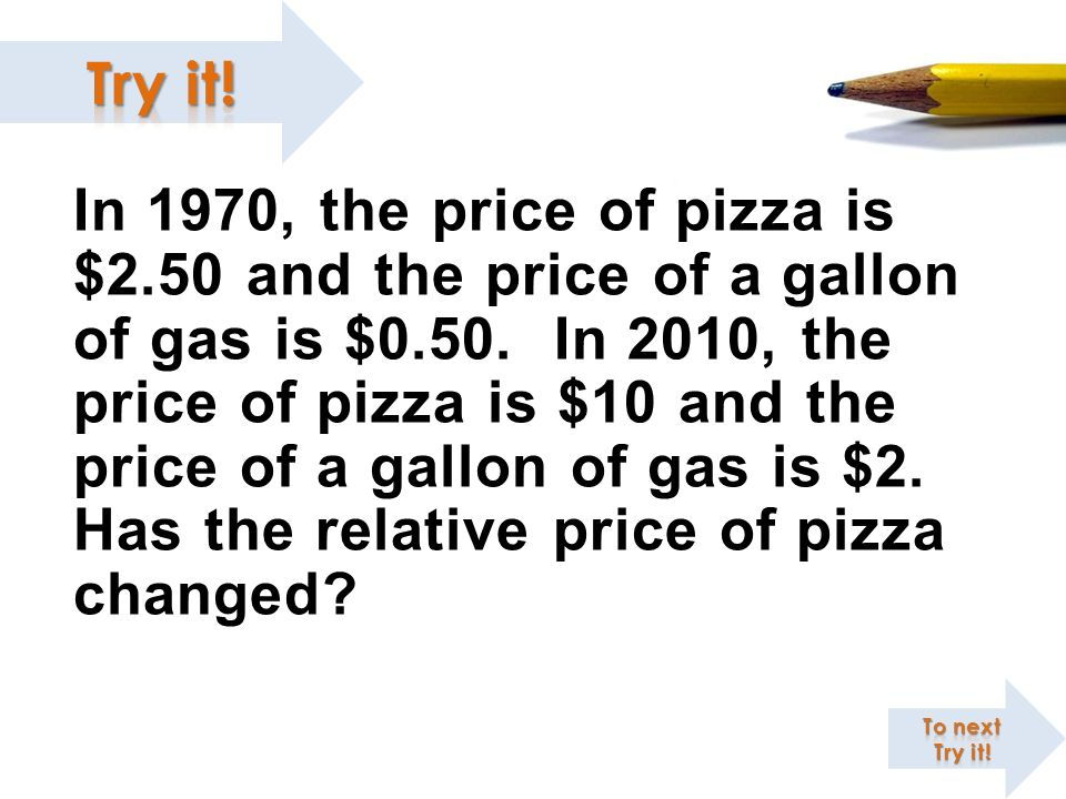 In 1970, the price of pizza is $2