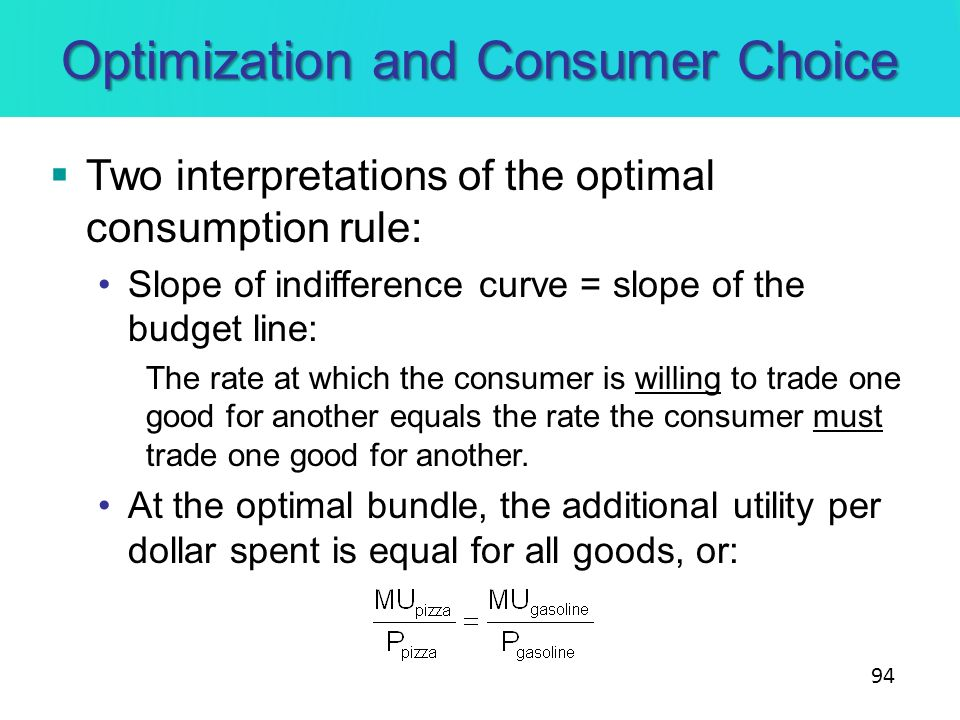 Optimization and Consumer Choice