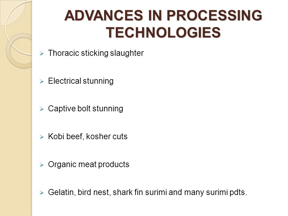 ADVANCES IN PROCESSING TECHNOLOGIES