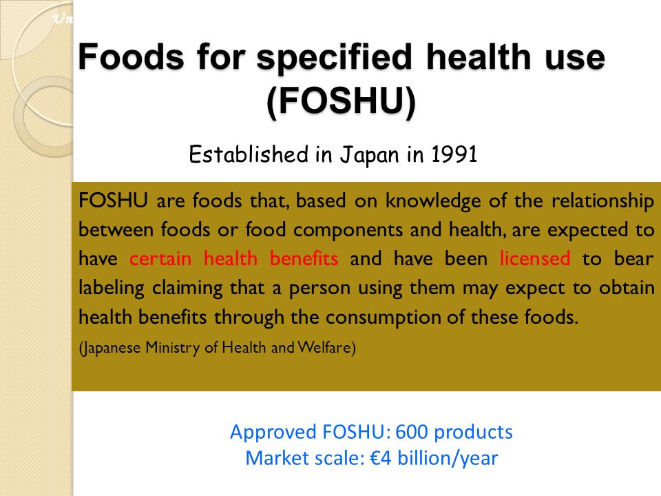Foods for specified health use (FOSHU)