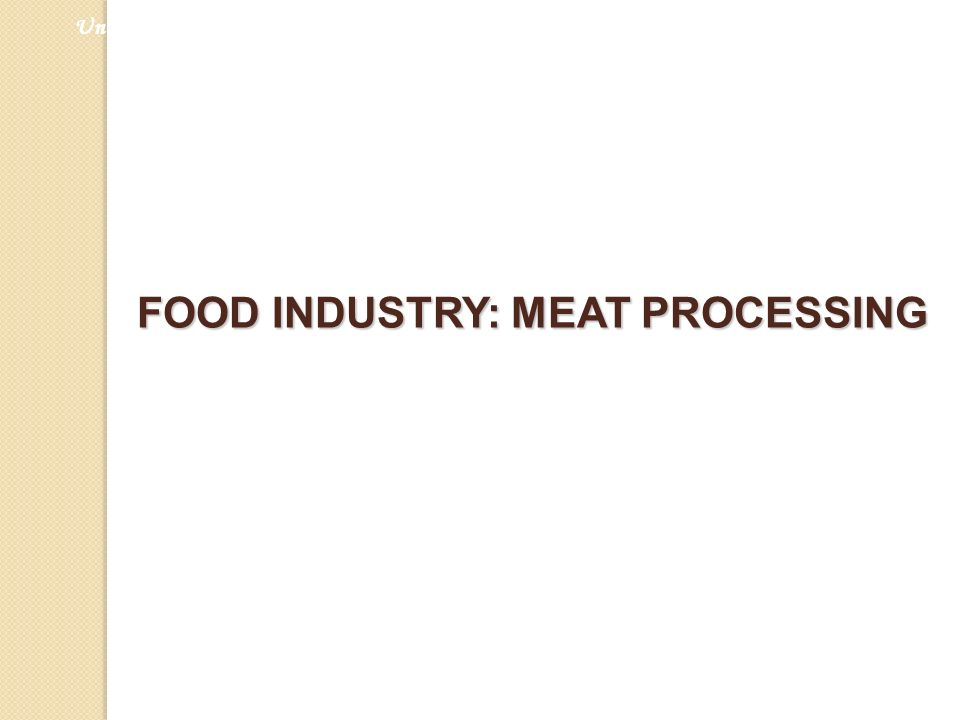FOOD INDUSTRY: MEAT PROCESSING